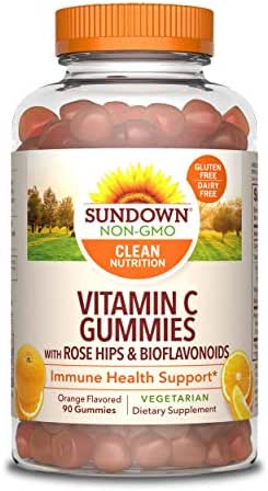 Sundown Vitamin C with Rose Hips and Bioflavonoids, Immune Health Support, 90 Gummies