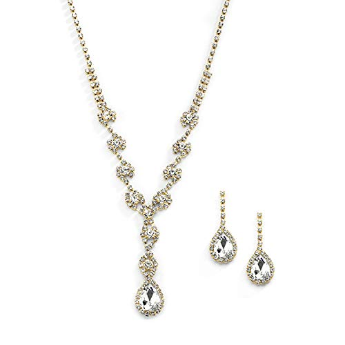 (Mariell Yellow Gold Crystal Rhinestone Necklace Jewelry Set for Prom, Bridesmaids & Brides)