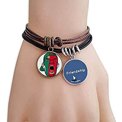 YMNW Portugal Flag Facial Makeup Mask Screaming Cap Friendship Bracelet Leather Rope Wristband Couple Set Estimated Price -