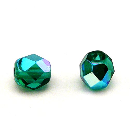 - 50pcs Czech Fire-Polished Faceted Glass Beads Round 6mm, Emerald AB