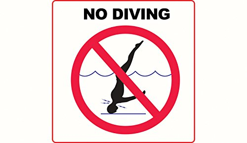 No Diving with International Symbol- 3M Adhesive Depth Marker 6 Inch x 6 Inch by Aquatic Technology