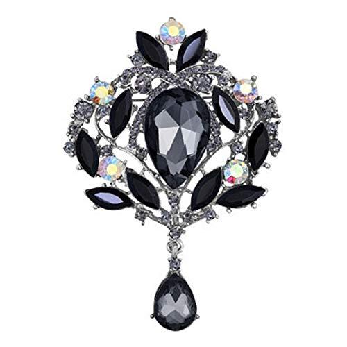 (JewelryHouse Gorgeous Austrian Imitation Crystal Rhinestone Wedding Brooch Pin (Black))