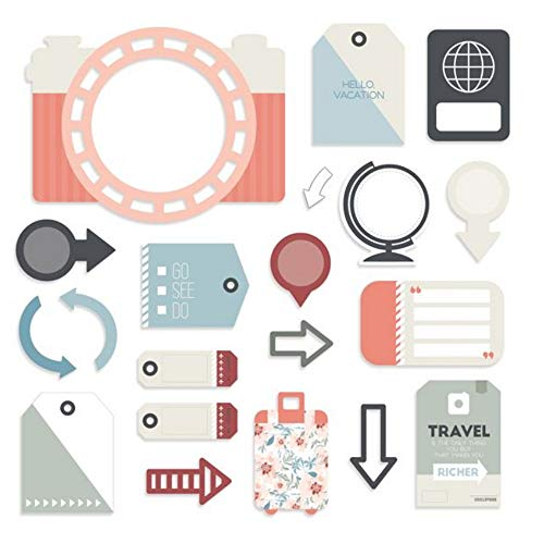 (Creative Memories Travel Log Banner & Tag Scrapbook & Card Making Embellishments 42 Double-Sided Laser Cut Tags)