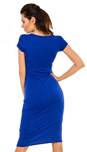 Zeta Ville - Vestido ajustado de tubo a media - cuello redondo - para mujer 099z Azul Real