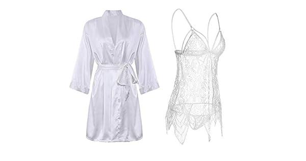 94ce4cb129f IngerT 4Pcs Nightwear Wedding Night Out Dress Set Silk Like V Neck ...