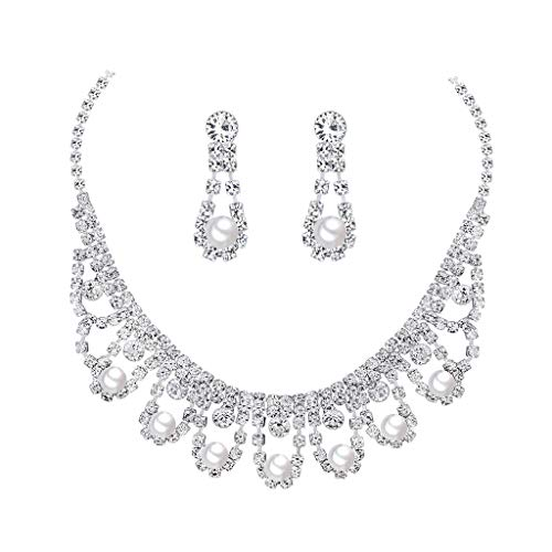 aliveGOT Crystal Pearls Necklace and Earrings Set for Wedding, Prom, Bridesmaids or Mother of Bride