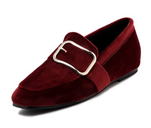 AllhqFashion Womens Imitated Suede Low-Heels Closed-Toe Pull-On Pumps-Shoes Claret j6KV6