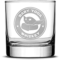 Integrity Bottles Premium Baby Yoda Whiskey Glass - Hand-Etched Liquor and Rocks Tumbler for Drinking Bourbon, Cocktail, Scotch, Vodka - Old Fashioned Unique Gifts for Men Made in USA - 11oz