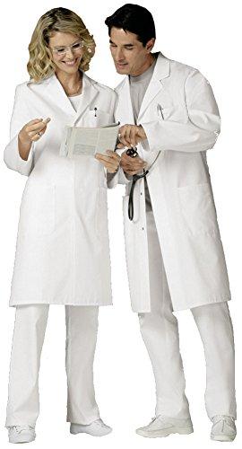 clinicfashion 12212002 Mantel weiß Unisex für Damen und Herren, Reverkragen, Mischgewebe, Größe XS - 3XL Weiß