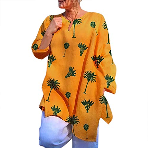 - MOGOV Women Plus Size Long Sleeve Leaf Print V-Neck Print Pullover Tops Shirt Yellow