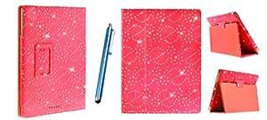 Kit Me Out ES ® Funda libreta + Lápiz óptico azul capacitivo / resistivo para Asus Google Nexus 7 ( 7 pulgadas 7.0 ) tablet - Rojo Diseño brillantes efecto diamante