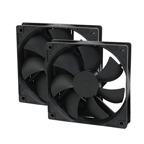 Yohii 2Pcs 120mm/4.72 Inch Box Fan Long Standby Sleeve Bearing Silent Fan for Computer ROCF-13001 Ultra-Quiet Cooling Standard Chassis Fan