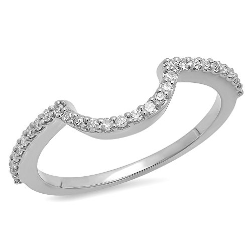 Dazzlingrock Collection 0.15 Carat (ctw) 10K Round Cut Diamond Ladies Wedding Band Contour Guard Ring, White Gold, Size 5 (Wedding Round Band Diamond)