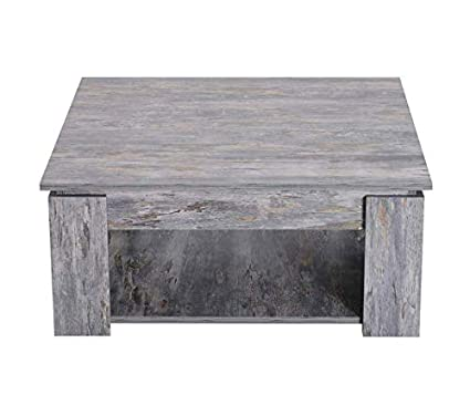 Square Coffee Table Wooden Grey Furniture Small Rustic Living Room
