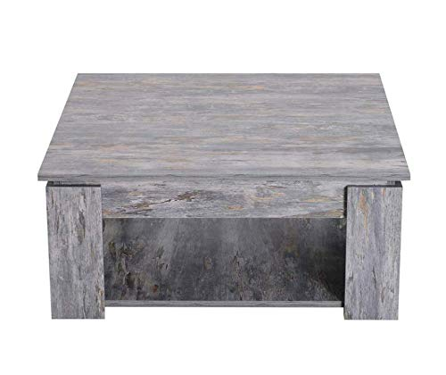 Square Coffee Table Wooden Grey Furniture Small Rustic