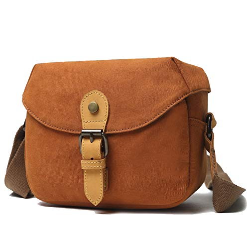 Small Camera Bag DSLR Shoulder Bag Canvas Messenger Bag Waterproof Digital Camera for Sony, Canon, Olympus (Small, Orange)