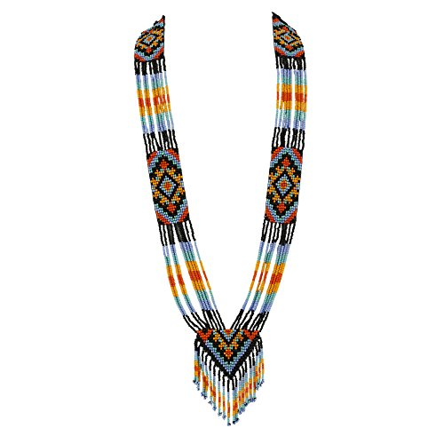 El Allure Preciosa Jablonex Native American Inspired Style Multi Color Patterned Seed Bead Native Long Handmade Vintage Designer Unique Fashion Costume Seed Beaded Necklace for Women.