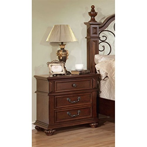 HOMES: Inside + Out Iohomes Prompe 3-Drawer Nightstand, Antique Dark Oak by HOMES: Inside + Out