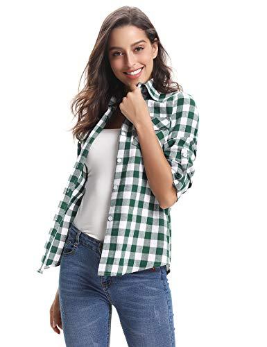 A Abollria Bluse Inverno Stile Verde Maniche Per Primavera Casual Flanella Classici Autunno Camicia bianco Di Quadri Boyfriend Donna Lunghe pq0rwIp