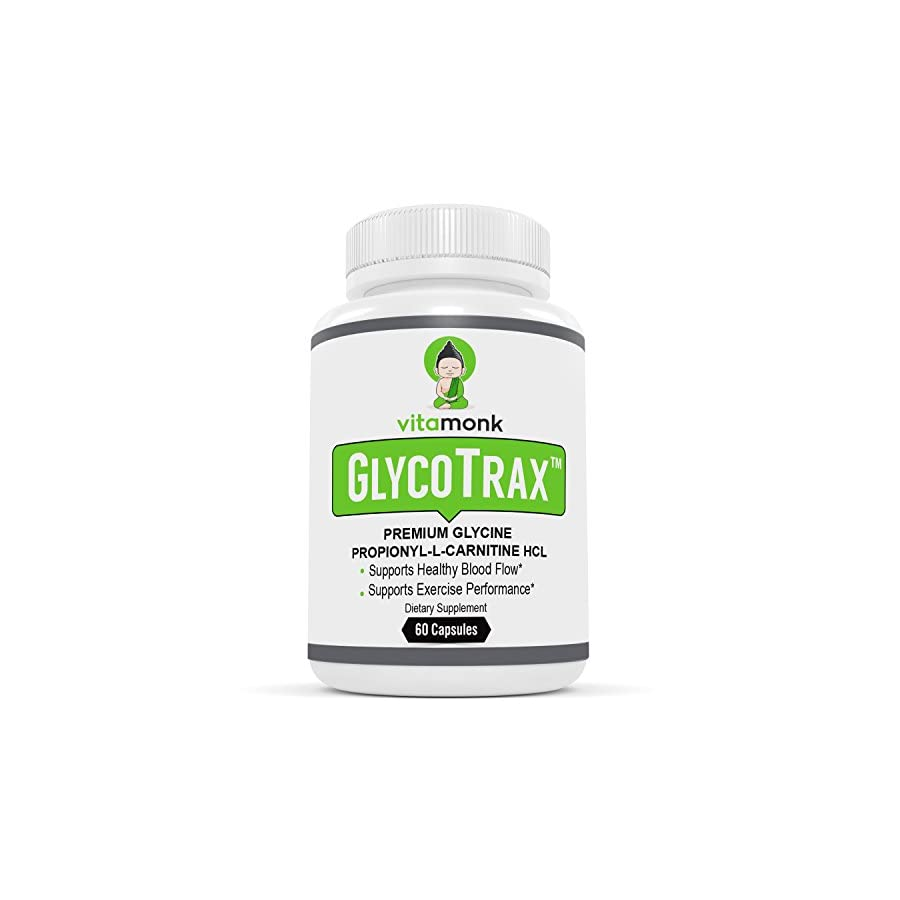 GlycoTrax™ High Absorption GPLC Supplement NO Artificial Fillers Most Effective GPLC Glycine Propionyl L Carnitine Capsules by Vitamonk Supplements To Support Healthy Blood Flow