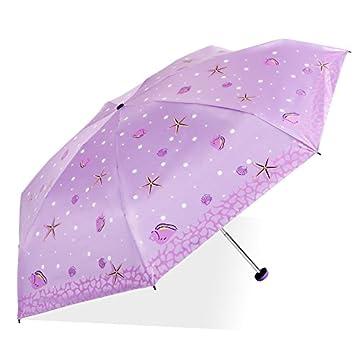 SFSYDDY Paraguas de sol mitad apagado paraguas soleado paraguas mini compacto UV protección pegamento negro parasol