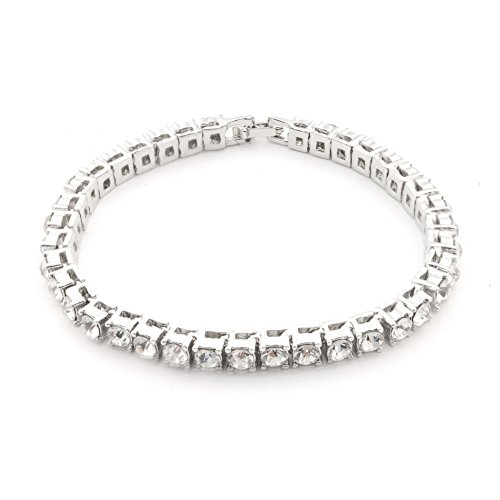Powerful Mens , Women Charm Bracelet Diamond Hip-Hop Gold Tone Necklace Chain (Silver) ()