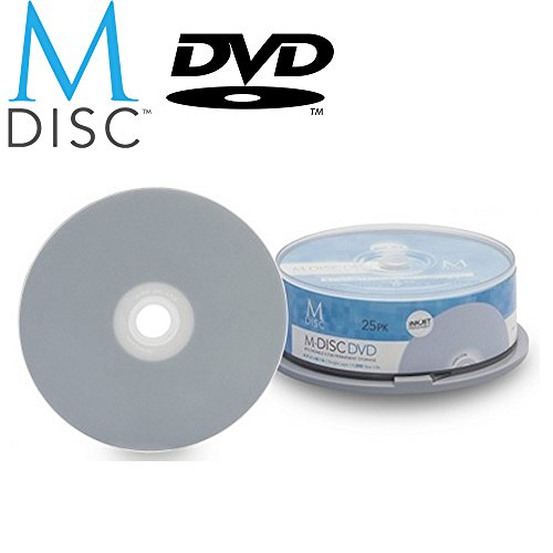 UPC 600303618683, 25 Pack Millenniata M-Disc DVD 4.7GB 4X HD White Inkjet Printable 1000 Year Permanent Data Archival / Backup Blank Media Recordable Disc