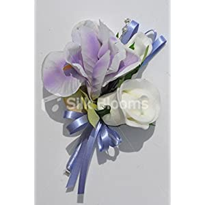 Gorgeous Silk Purple Iris and White Fresh Touch Rose Wedding Corsage with Crystals 42
