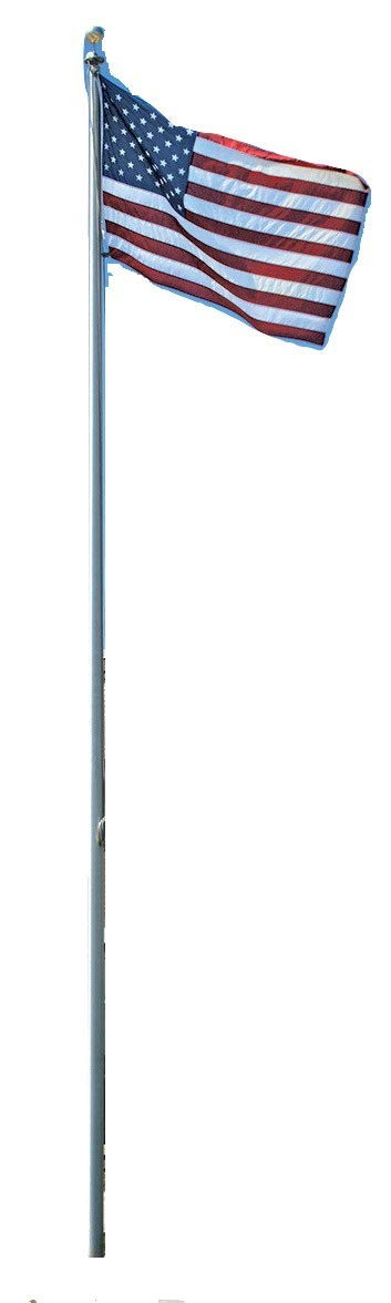 WindStrong® 25 FT In Ground Heavy Duty Commercial Grade Tapered Flag Pole Flagpole Comes with Deluxe Rotating Top Truck for Business Government and Residential Made in The USA Holds Two Flags