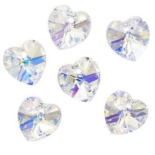 Swarovski Crystal, 6228 Heart Pendants 10mm, 6 Pieces, Crystal AB ()
