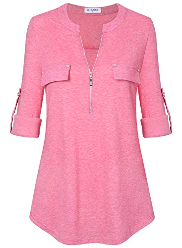 Bulotus 3/4 Sleeve Tunics for Women Casual Tops Zip Front V Neck (Medium, Pink)