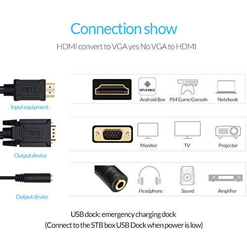 Unnlink to VGA Cable to Adapter Audio 3.5mm Cord Compatible Laptop, Xbox PS4 PS3, Box, Apple TV