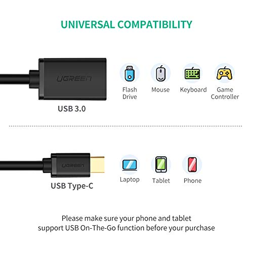 UGREEN USB C OTG Cable Type C Male to USB 3 0 Female OTG
