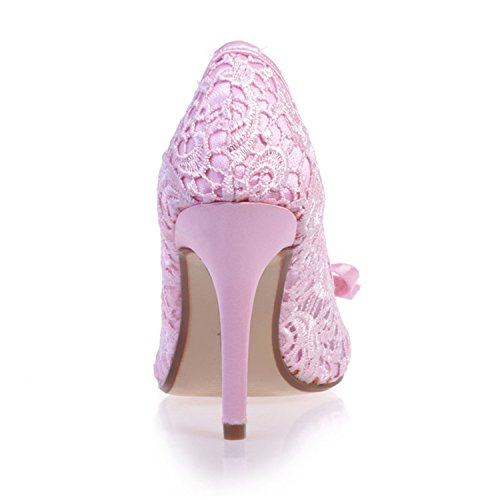 Clearbridal Womens Round Toe Lace Flowers Pumps Heels Wedding Shoes ZXF5623-10 Pink nfCwGE