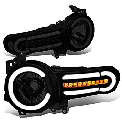 DNA MOTORING Black Housing/Smoke Lens/Clear HL-LB-FJC07-BK-SM-CL1 Pair LED DRL+Sequential Chasing Turn Signal Headlight Lamps Set: Automotive