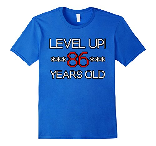 Mens LEVELED UP! EIGHTY-SIX Years Old Video Gamer Pixel T...