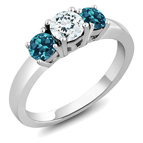 Gem Stone King 1.16 Ct Round Sky Blue Aquamarine London Blue Topaz 925 Sterling Silver Ring (Size 9)