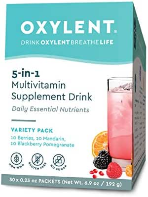 Oxylent 5-in-1 Multivitamin Supplement Drink - Sugar-Free & Effervescent for Easy Absorption of Vitamins, Minerals, Electrolytes, Antioxidants, Variety Pack, 30 Count