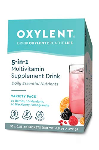 Go Effervescent Packets - Oxylent, 5-in-1 Multivitamin Supplement Drink, Variety Pack, 30 Packet Box