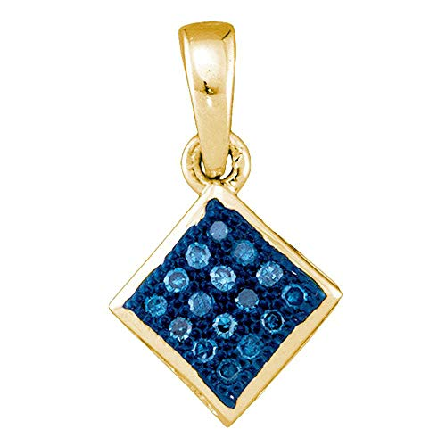 Jewels By Lux 10kt Yellow Gold Womens Round Blue Color Enhanced Diamond Square Pendant 1/20 Cttw In Pave Setting (I2-I3 clarity; Blue color) ()