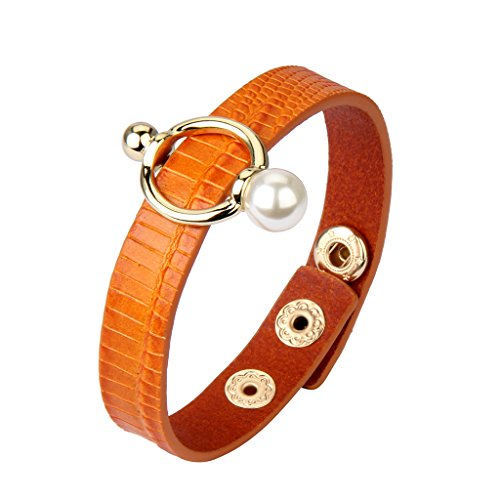 Jenia Women Italian Leather Bracelet Pearl Cuff Bangle Handmade Jewelry Wrap Bracelets for Wife, Mother, Sister Gift with Oil Edge and Gold Plated ()