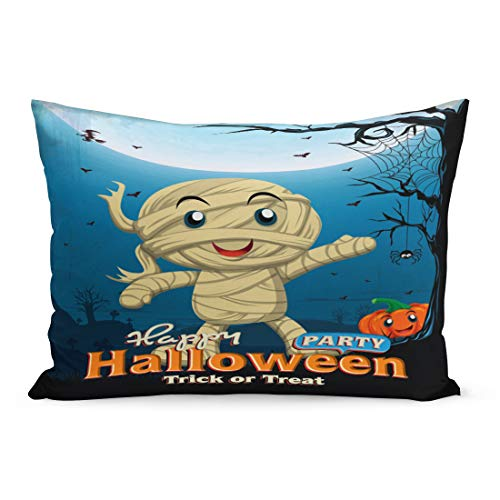Emvency Throw Pillow Covers Border Party Vintage Halloween Kid in Mummy Costume Spider Pillow Case Cushion Cover Lumbar Pillowcase Decoration for Couch Sofa Bedding Car Home Decor 20 x 36 inchs