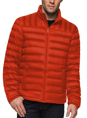 Tommy Hilfiger Men's Packable Down Jacket (Regular and Big & Tall Sizes), Orange, Medium ()