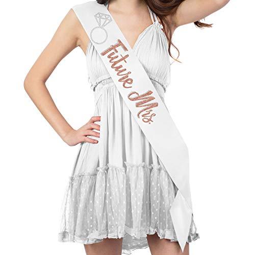 FUTURE MRS. with Ring Rose Gold Glitter & Rhinestone White Satin Sash - Bride To Be Sash - Bachelorette Party Decorations for the Bride - White Sash(FutMrs RS.GLD) WHT