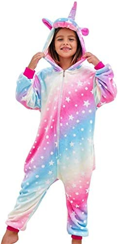 smilecstar Weiche Einhorn Kapuze Bademantel Nachtwäsche - Einhorn Geschenke für Mädchen-Pyjamas Pink Rainbow-A41_6-7 Jahre