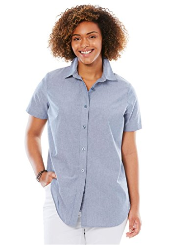 Womens Short Sleeve Button Front (Women's Plus Size Short Sleeve Perfect Shirt Chambray,2X)