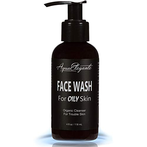 Face Wash For Oily Skin - Organic Daily Facial Cleanser With Moisturizing Aloe Vera Gel - Natural Anti Aging & Exfoliating Scrub For Cleansing Oil And Acne