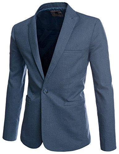 Mens Slim Fit Peaked Lapel 1 Button Cool Business Blazer DUSKNAVY US M(Tag Size M)