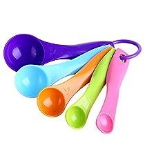 sudarathkshop 5Pcs Colorful Measuring Spoons Set Kitchen Tool Utensils Cream Cooking Baking Tool