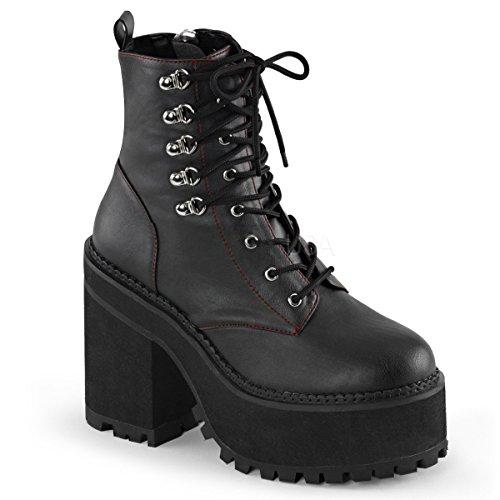 Demonia ASSAULT-100 Womens Boot, Blk Vegan Leather, Size - (Zip Assault Boot)